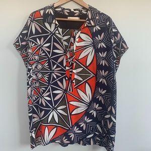 Tory Burch short sleeved silk blouse XL
